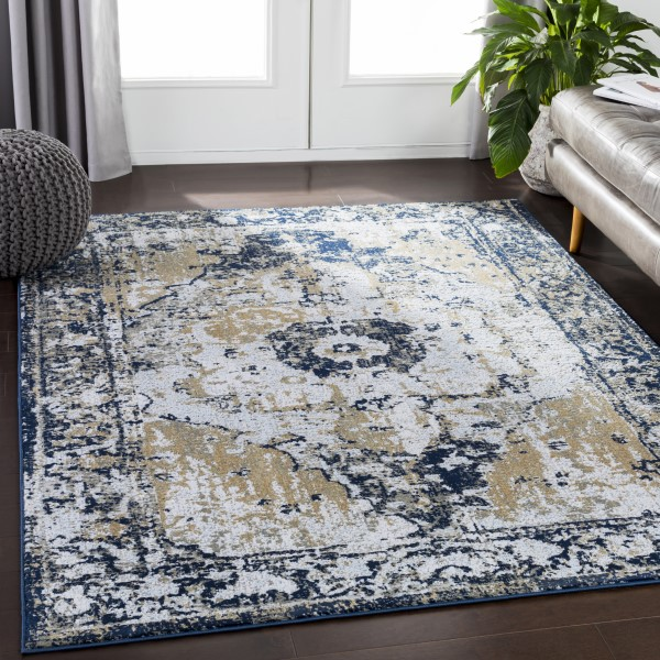 Taupe, Grey, Navy, Wheat, Pale Blue Vintage / Overdyed Area Rug