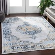 Product Image of White, Light Grey, Navy, Wheat, Pale Blue Vintage / Overdyed Area Rug