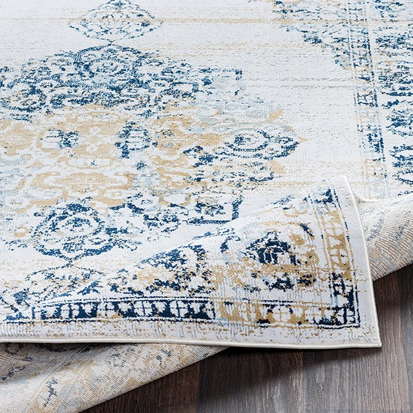 White, Light Grey, Navy, Wheat, Pale Blue Vintage / Overdyed Area Rug