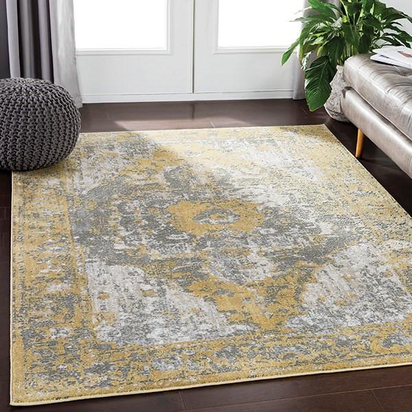 Grey, Yellow, Tan, Camel, White Vintage / Overdyed Area Rug