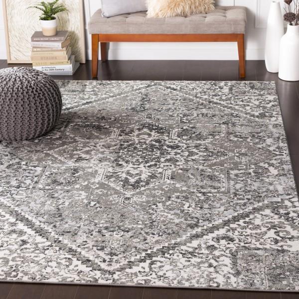 Grey, Light Grey, Black, White Vintage / Overdyed Area Rug