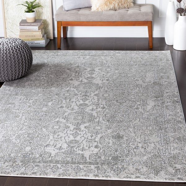 Grey, Light Grey, White Vintage / Overdyed Area Rug