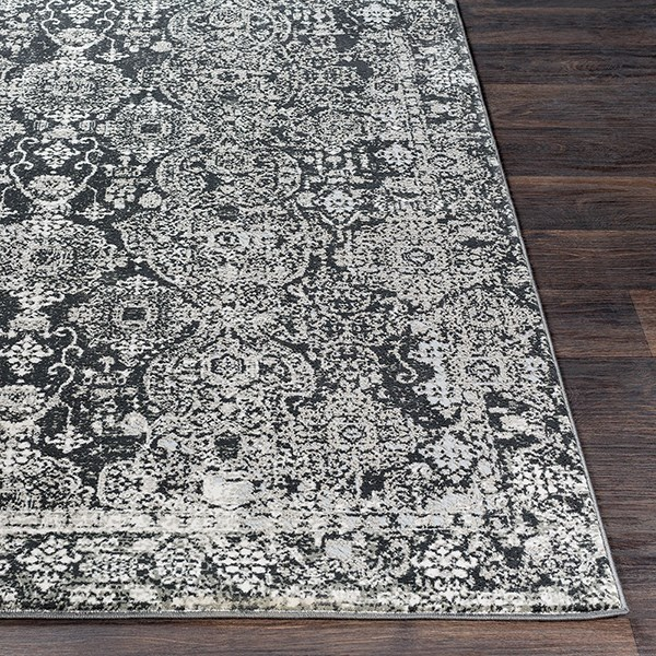 Black, Grey, Light Grey, White Vintage / Overdyed Area Rug