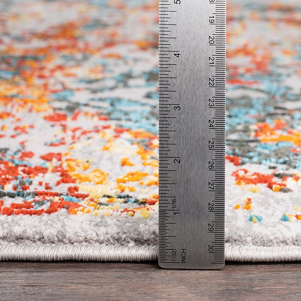 Saffron, Bright Blue, Bright Red Vintage / Overdyed Area Rug