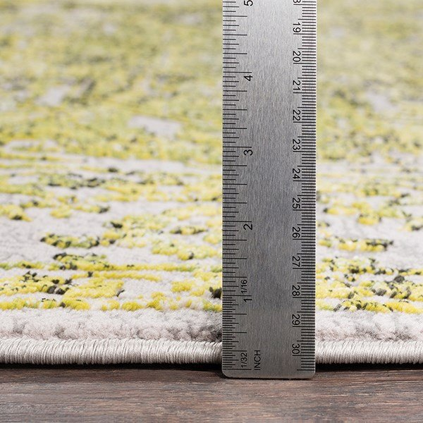 Bright Yellow, Grass Green Vintage / Overdyed Area Rug