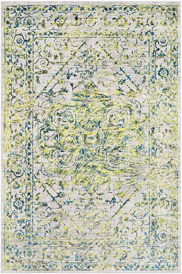 Grass Green, Bright Blue Vintage / Overdyed Area Rug