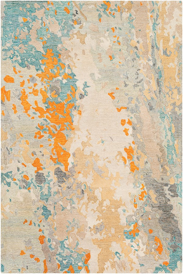 Charcoal, Teal, Khaki Abstract Area Rug