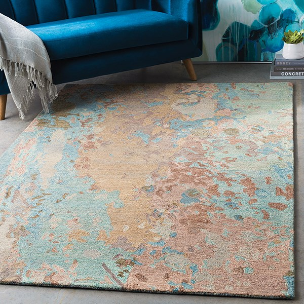 Navy, Mint, Camel, Tan Abstract Area Rug