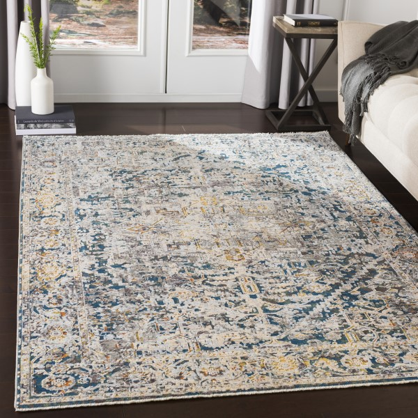 Pale Blue, Bright Blue Vintage / Overdyed Area Rug