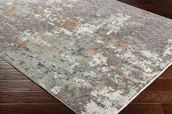 Charcoal, Medium Gray Abstract Area Rug
