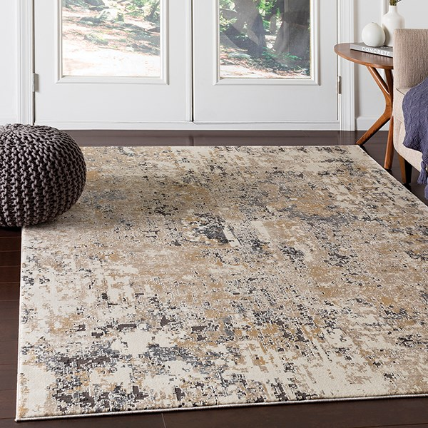 Beige, Taupe, Camel Abstract Area Rug