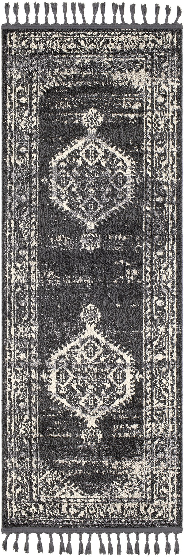 Charcoal, Black, Cream Traditional / Oriental Area Rug