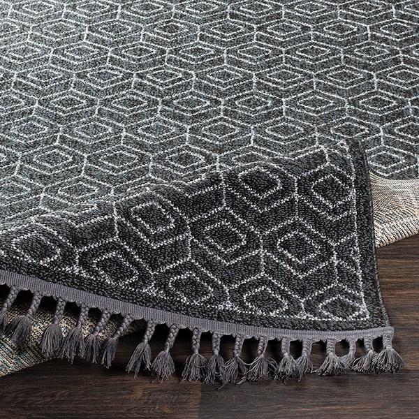 Charcoal, Black, Medium Gray Moroccan Area Rug