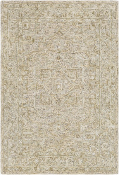 Sage, Khaki, Medium Gray Traditional / Oriental Area Rug