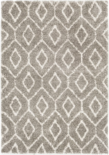Dark Brown, Taupe, White Geometric Area Rug