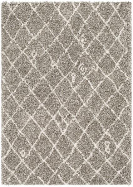 Taupe, Dark Brown, White Shag Area Rug
