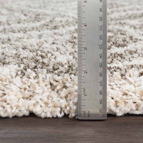 Taupe, White, Khaki Shag Area Rug