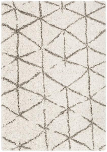 Taupe, Khaki, White Shag Area Rug