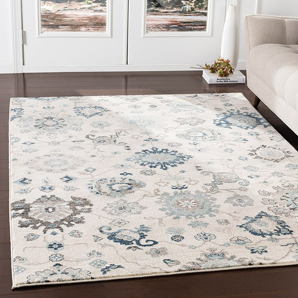 Medium Gray, Ivory, Camel, Black (MEP-2307) Traditional / Oriental Area Rug