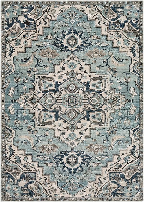 Medium Gray, Teal, Denim (MEP-2311) Traditional / Oriental Area Rug