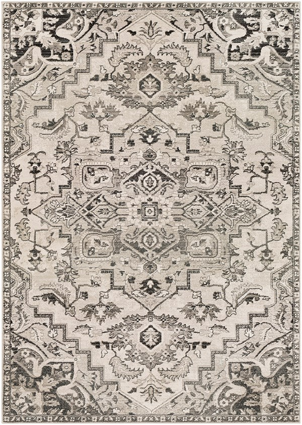 Camel, Ivory, Black (MEP-2314) Traditional / Oriental Area Rug