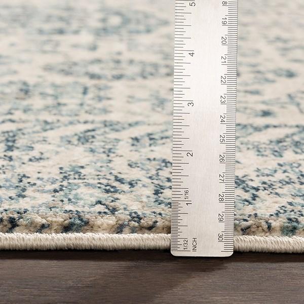 Medium Gray, Teal, Navy, Denim (MEP-2300) Traditional / Oriental Area Rug