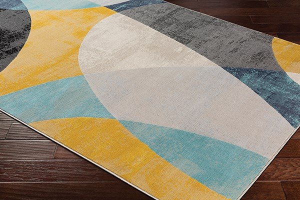 Aqua, Light Gray, Mustard (CIT-2347) Abstract Area Rug