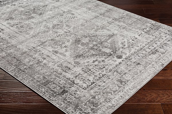 Light Grey, White, Charcoal (FGA-2314) Transitional Area Rug