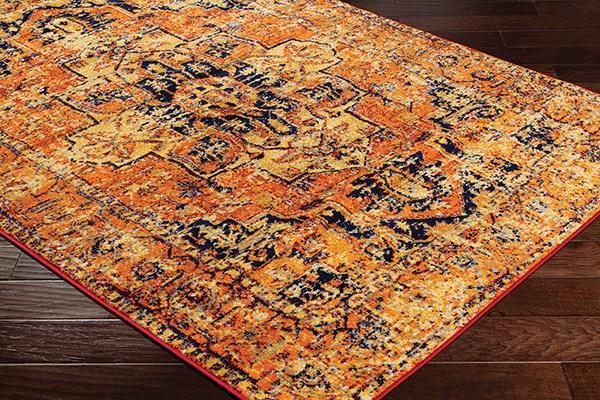 Bright Orange, Bright Yellow (FGA-2316) Traditional / Oriental Area Rug