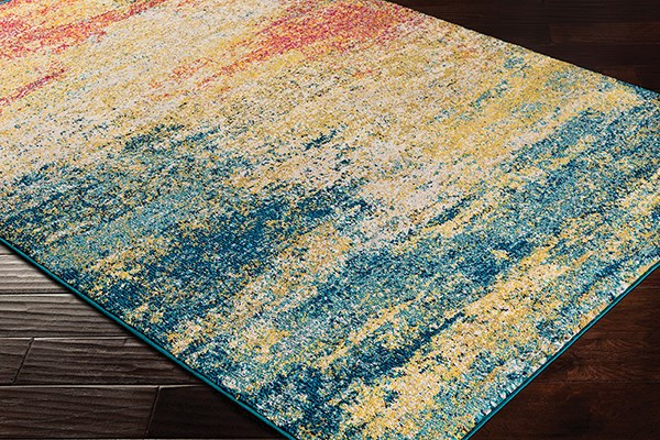Teal, Navy, Light Gray, Camel (LAL-2307) Abstract Area Rug