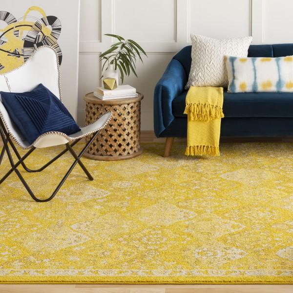 Saffron, Bright Yellow, Camel, (MRC-2319) Traditional / Oriental Area Rug
