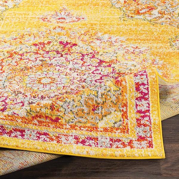 Saffron, Bright Yellow, Bright Orange (LAL-2325) Mandala Area Rug