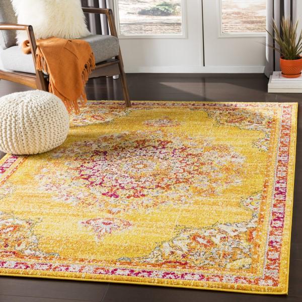 Saffron, Bright Yellow, Bright Orange (MRC-2325) Bohemian Area Rug