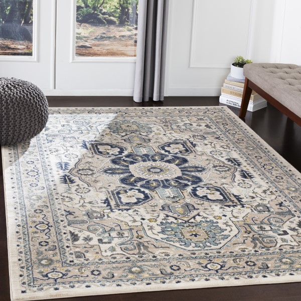 Navy, Sky Blue, Charcoal, Butter (AHN-2309) Traditional / Oriental Area Rug