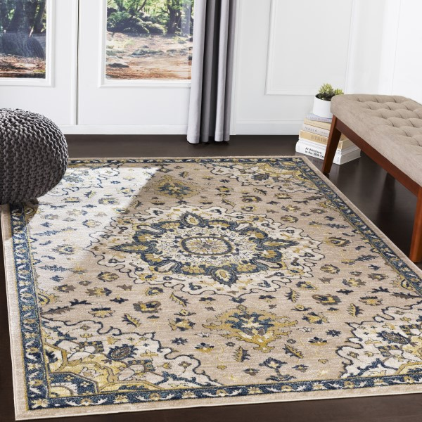 Navy, Butter, Ivory, Charcoal (AHN-2305) Traditional / Oriental Area Rug