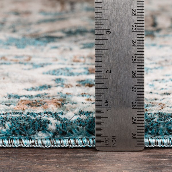 Teal, Camel, Grey Vintage / Overdyed Area Rug