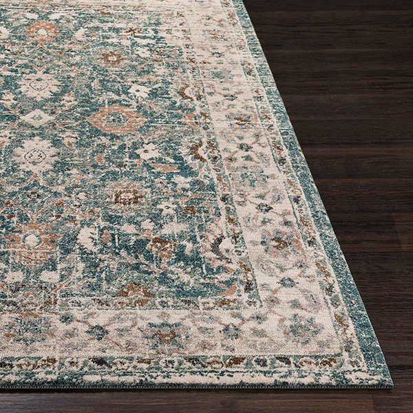 Teal, Taupe, Grey Vintage / Overdyed Area Rug