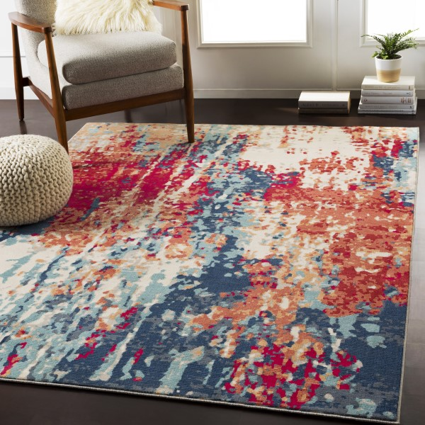 Red, Navy, Burnt Orange (BOM-2309) Abstract Area Rug