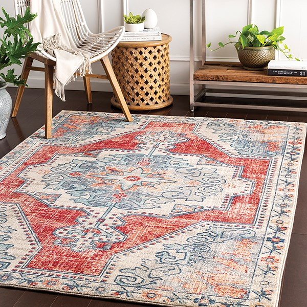 Bright Red, Taupe, Navy (BOM-2300) Bohemian Area Rug