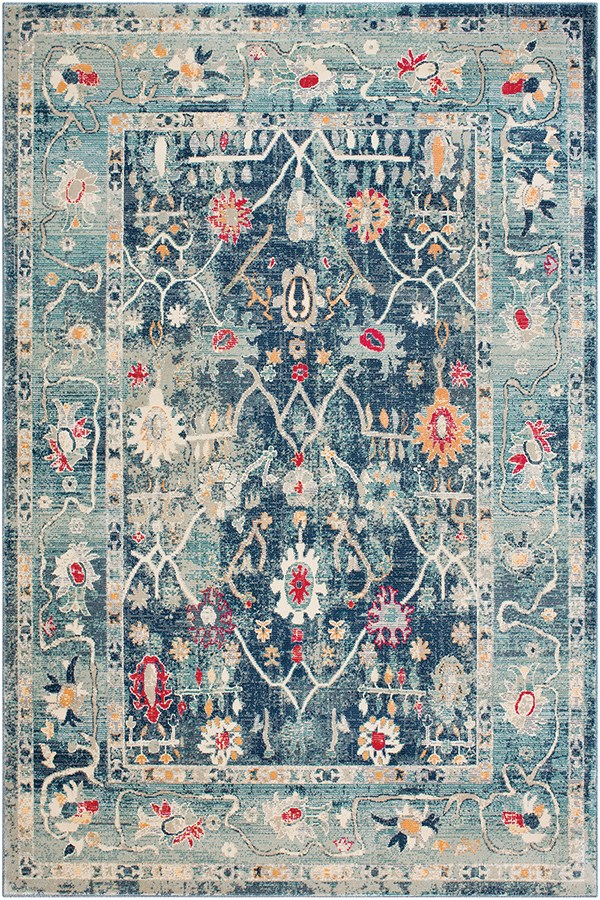 Navy, Teal, Bright Pink (BOM-2305) Vintage / Overdyed Area Rug