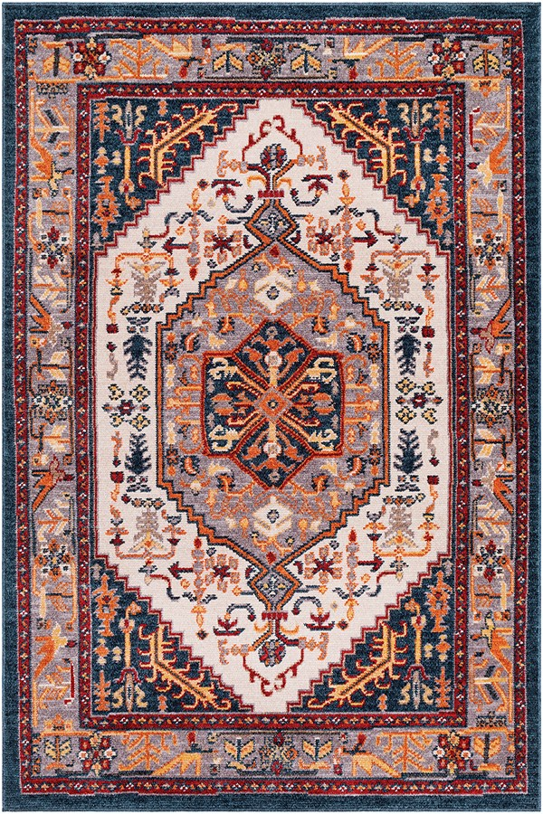 Navy, Red, Orange (PIA-2309) Traditional / Oriental Area Rug