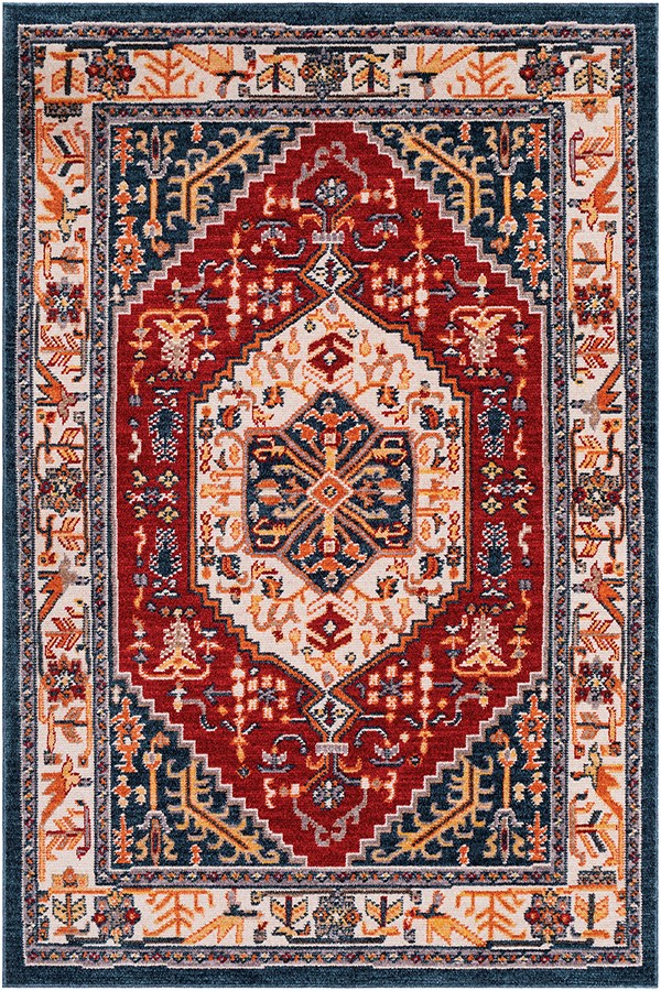 Navy, Red, Orange (PIA-2311) Traditional / Oriental Area Rug