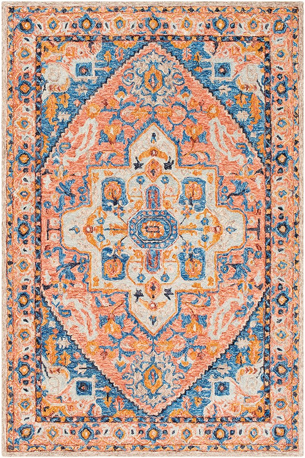 Burnt Orange, Blue, Grey Traditional / Oriental Area Rug