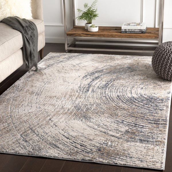 Charcoal, Camel, Ivory Abstract Area Rug