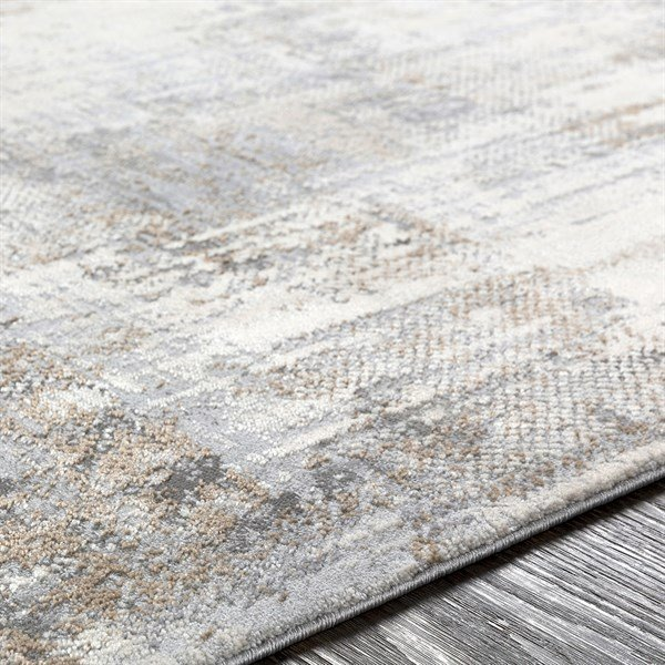 Light Grey, Ivory, Camel Abstract Area Rug