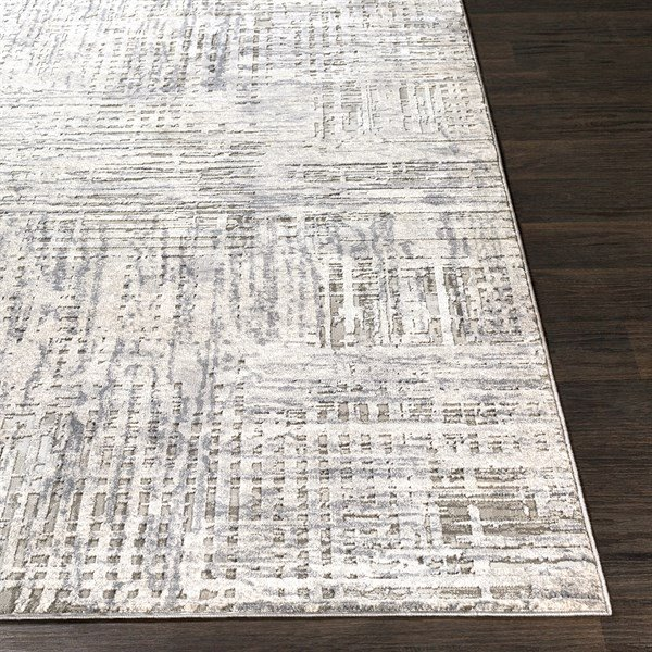 Grey, Charcoal, Ivory Abstract Area Rug