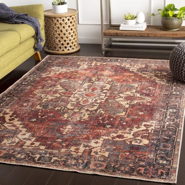 Rust, Beige Traditional / Oriental Area Rug