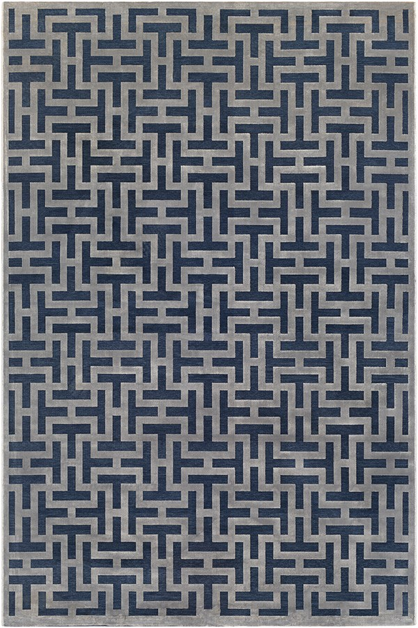 Dark Blue, Medium Grey Geometric Area Rug