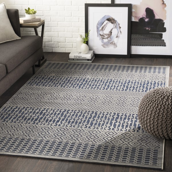 Blue, Grey Traditional / Oriental Area Rug