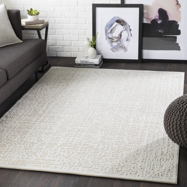 Beige, Cream Contemporary / Modern Area Rug
